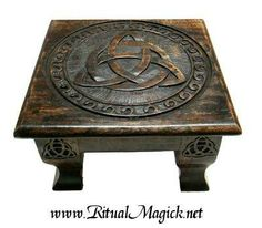 Solid Wood Triquetra Altar Table $69.95 This thick wood altar table features a Triquetra in antique finish (stain may vary in shade from picture shown). Measures approx. 12