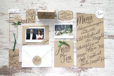 Hochzeitspapeterie mit Kraftpapier: Einladung, Umschlag, Menue, Platzkarte, Candy Bar Label, Fähnchen, Dankeskarte mit Polaroid    http://hochzeit-mit-konzept.de