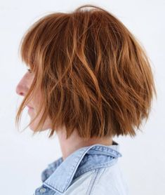 Straight Cut Shaggy Bob with Bangs - 70 Fabulous Choppy Bob Hairstyles – Best Textured Bob Ideas - The Trending Hairstyle - Page 58 Best Bob Haircuts, Stacked Bob Hairstyles, Bob Haircut With Bangs, Choppy Bob Hairstyles, Hairstyles With Bangs, Hairstyle Ideas, Choppy Bob With Bangs, Choppy Layers, Haircut Medium