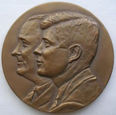 "2.75"" JOHN KENNEDY Lyndon Johnson BRONZE Medallion MEDAL 1961 Signed KRACZKOWSKI"