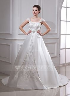 Ball-Gown Square Neckline Court Train Organza Satin Wedding Dress With Embroidered Ruffle Beading (002011665)