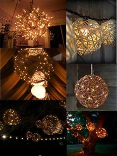Lighted vine balls painted white.. for the stage etc... ???