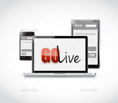 go live website responsive electronics - Stock Photo - Images