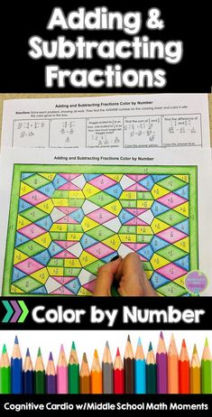 Try this fun, self-checking color by number to help your math students practice adding and subtracting fractions. #math #fractions #mathtricks