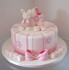 baby cake bunnies | Bunny #pink baby shower #cake by Takes the Cake
