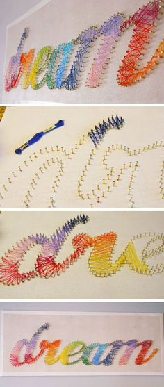 DIY String Artwork Tutorial | 24 DIY Tasks for Teen Women Bedrooms.... Learn even more at the picture
