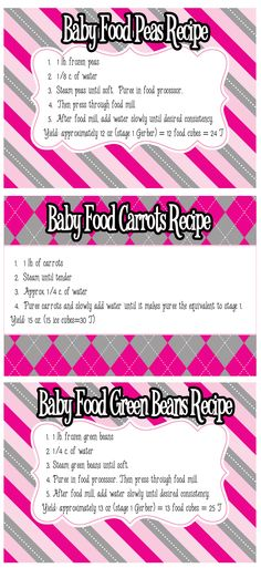 Baby Food Recipe Cards: Peas, Carrots and Green Beans