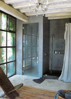 Iron and Glass, open-concept shower image via Côté Maison Concrete Shower, Concrete Bathroom, Slate Shower, Slate Bathroom, White Bathrooms, Shower Tiles, Luxury Bathrooms, Master Bathrooms, Dream Bathrooms
