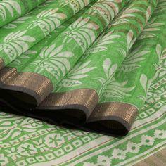 Khoj Handprinted Kota Silk Saree with Floral Motifs & Zari Border 10002427 - closeup - AVISHYA.COM
