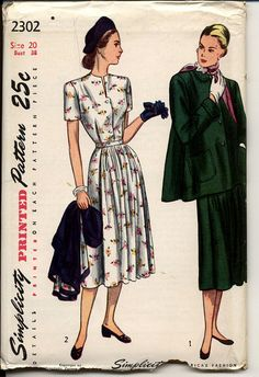 Vintage 1940s Simplicity 2302 maternity sewing pattern