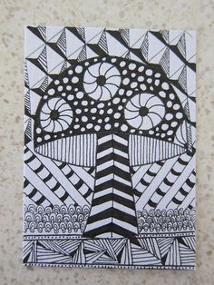 Zentangle Mushroom ATC by Lozza Bee, via Flickr