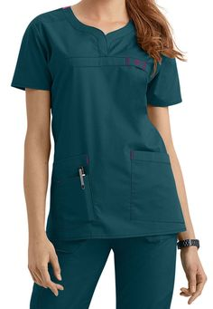 Triple-needle stitching at the dropped shoulder. Medical Scrubs, Scrub Tops, Caregiver, V Neck, Couture, Pattern Making, Lady, Womens Fashion, Shopping