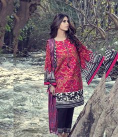 Maria B Embroidered Linen Suits collection PINK DL-304