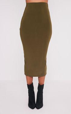 Steffany Khaki Slinky Long Line Midi Skirt Image 2