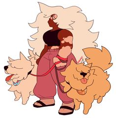 Jasper and the gem doggehs! I personally like to call them Lace and Snowy.