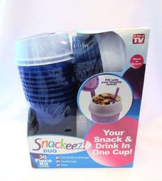 Snackeez Duo 2 In 1 Snack And Drink 30 Piece Kit As Seen On TV Travel Camping #Snackeez