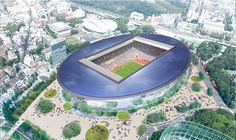 11 of the top architecture firms including zaha hadid, UNStudio and toyo ito have been shortlisted in the new national stadium japan competition. Tadao Ando, Toyo Ito, Norman Foster, Soccer Stadium, National Stadium, Architecture Images, Sports Complex, Photoshop, Zaha Hadid Architects