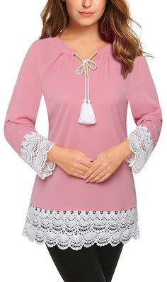 Women's Pink Lace Casual Tunic Shirt Top #womenswear #pink #pinkshirt #pinktop #womensshirt #tunic #tunictop