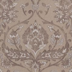Chintz (OBS6278 20 40) - Caselio Wallpapers - A grand scale, richly detailed scrolling damask with a floral theme. Shown here in brown and grey with a metallic sheen finish. Other colourways are available. Please request a sample for a true colour match. Paste-the-wall product.