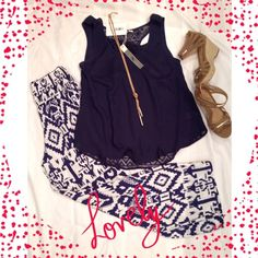 Navy Flowy Tank Top Beautiful boutique top with lace back! NWT. Pants also available! Tops Tank Tops
