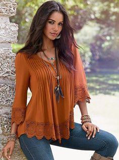 fdaa57f0ffb Burnt Orange Blouse | Burnt Orange Top from Longhorn Fashions | Shop ...