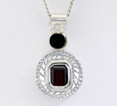 Emerald-Cut Garnet Gemstone Pendant Sterling Silver w/ 10K Gold Accent w/ Chain