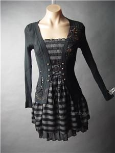 More emo and casual and less goth...cute to throw on over jeans with some boots on a day you don't want to have to piece together a masterpiece outfit