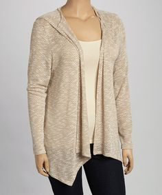 Another great find on #zulily! Gray & Taupe Open Cardigan - Plus #zulilyfinds