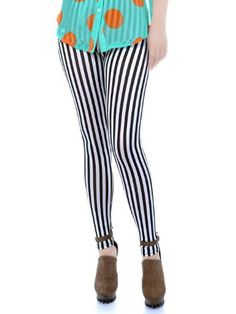 8e23c8da45c02 Anna-Kaci S/M Fit Black and White Cute Beetlejuice Stripe Cotton Skinny  Leggings