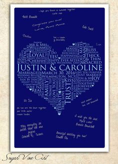Wedding heart Guestbook 20x24 Signature Guest Book by SugarVineArt, $56.25