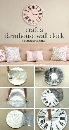 How to make a DIY farmhouse wall clock using the Clock Stencil. #diy #farmhouse #farmhousestyle #wallart #clocks