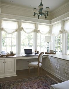 Unbelievable Home Office. Feminine Home Office Ideas. Hers Home Office Design. The post Home Office. Feminine Home Office Ideas. Hers Home Office . Windows Office, Sunroom Office, Home Office Space, Home Office Design, Home Office Decor, Home Design, Home Decor, Office Ideas, Design Ideas