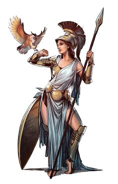 Female Human Cleric of Athena - Pathfinder PFRPG DND D&D d20 fantasy