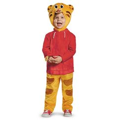 He can be the adorable Daniel Tiger this Halloween. The Daniel Tiger Deluxe Costume features a tiger striped jumpsuit with a red jacket and headpiece, attached watch and detachable belly. Daniel Tiger Costume, Baby Tiger Costume, Tiger Halloween Costume, Superhero Halloween, Classic Halloween Costumes, Halloween Ideas, Halloween 2015, Halloween Party, Halloween Tricks