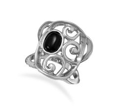 Rhodium Brass and Black Agate Ring