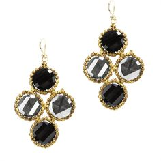 Panacea Four Coin Drop Earrings #VonMaur #StatementEarrings #BlackandGold