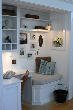 """""""Great idea!  This is the nook in our family room.  We had bumped a space into our garage years ago for a built in entertainment cente r.  When we switched to a flat screen we no longer needed the big built in.  After a few months of drawing out what we wanted, we agreed on a little desk area and a little reading area.  Now we just call it, """"The Nook"""" !  I hope you like it!"""""""