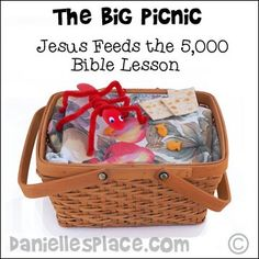 Jesus Feeds The 5000 Coloring Sheet Basket And Loaves From
