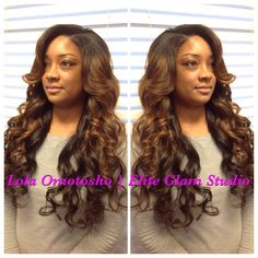 1/2 sewin extensions or some may call it a partial sew-in, with custom color from Elite Glam Studio in Dallas,tx