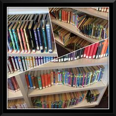 """My student's  creative concept for """"straightening"""" the shelves! Book artistry!"""