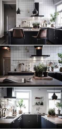 5 Playful Clever Hacks: Minimalist Bedroom Master Apartment Therapy minimalist home interior boho.Contemporary Minimalist Interior Powder Rooms minimalist home tour small spaces.Minimalist Home Pictures Living Rooms. Black Kitchens, Home Kitchens, Interior Design Kitchen, Interior Design Living Room, Home Interior, New Kitchen, Kitchen Decor, Kitchen Grey, Kitchen Ideas