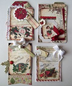 4 vintage look Christmas cards - Scrapbook.com