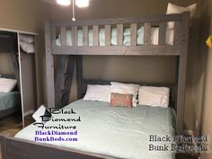 Twin over King Promontory Bunk Bed. Learn more and Shop at blackdiamondbunkbeds.com. Bunks are built to support over 600 lbs and are strong enough for adults and couples.  Most bunk beds are made to order.  Sizes include twin over twin, twin over full, twin over queen, full over king, queen over queen, queen over king or king over king. Custom bunk rooms and design assistance is available.