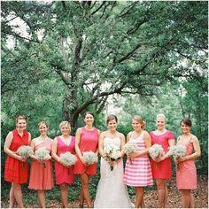 pink striped bridesmaid dress
