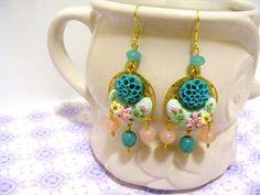 Vintage Chandelier Earrings Pretty Pink Earrings by Sweetystuff, £25.00