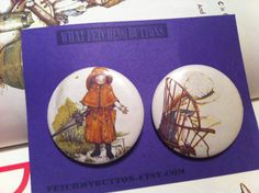 Holly Hobbie   - Pin Back Buttons  - found object - 2.25 inches on Etsy, $3.00