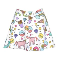 Unicorn Skater Skirt Womens Ladies Girls Top Tumblr Hipster Grunge... ($20) ❤ liked on Polyvore