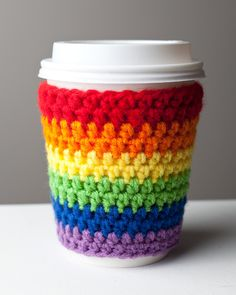 INSPIRATION: Rainbow Colored Coffee Cup Cozy. From Cuddlefish Crafts via Etsy.