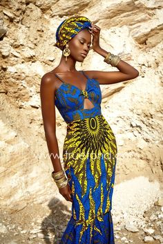 Azura African dress with matching headwrap