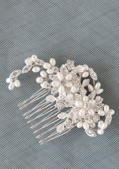 "Blooming Romance Hair Comb 48.99 at shopruche.com. A forever reminder of your wedding day, this silver hued hair comb is adorned with fanciful blooms glittering with crystal clear rhinestones and softly glowing freshwater baroque pearls.  2.5"" wide, Comb: 1.5"" long, 1.5"" wide"